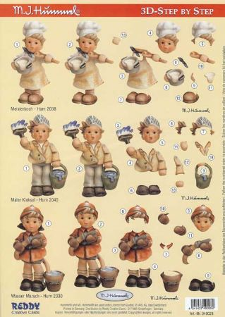 Hummel Children As Chef, Painter & Fireman 3d Decoupage Sheet by Reddy